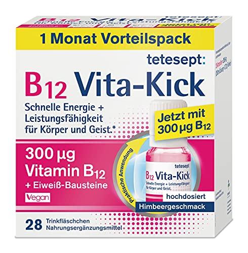 tetesept B12 Vita-Kick Trinkampullen – Nahrungsergänzungsmittel für schnelle Energie & Leistungsfähigkeit – Vitamin B12 Ampullen mit Eiweiß-Bausteinen – Monatspackung à 28 Trinkfläschchen