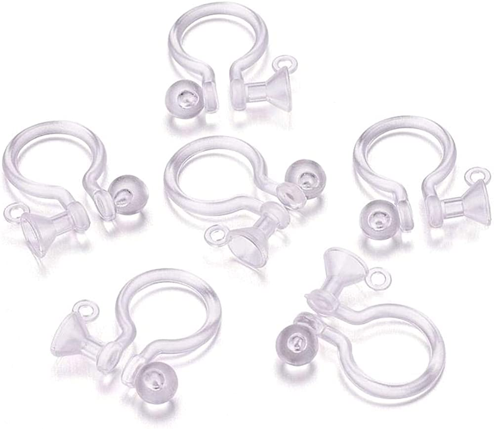 Kissitty 50Pcs Plastic Clear Tiny Stud to Clip on Earring Converter 11x9mm with 0.5mm Hole for Non-Pierced Ears Fit 3mm Rhinestone