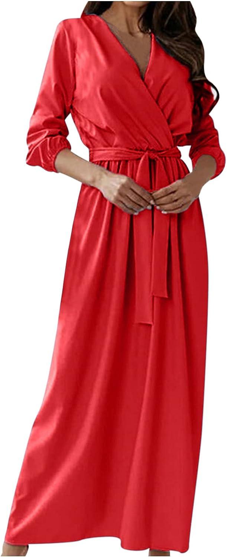 iLUGU Women's Elegant Bohemian Dress Wrap V Neck Bandage Dress S