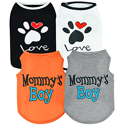 Sebaoyu 4 Pieces Dog Clothes for Small Dogs Girl Boy-French Bulldog Yorkie Clothes Outfit-Puppy Clothes for Medium Large Doggie-Cat Vest-Cute Pet Apparel-Summer Puppy Shirt(Small/2.4-4.4 LB)
