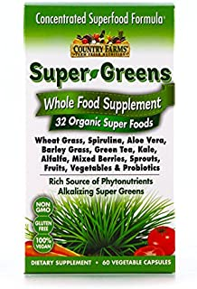 Country Farms Super Greens Vegicaps, Whole Food Supplement, 32 Organic Super Foods, 30 Servings