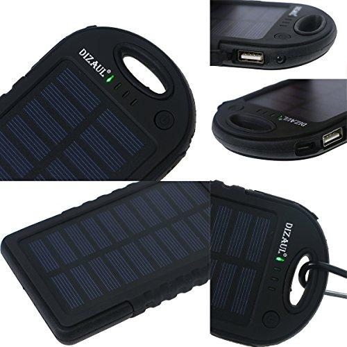 Cargador solar, dizauL 5000mAh portátil Solar Power Bank impermeable/a prueba de golpes/a prueba de polvo Dual USB Batería externa para teléfono móvil, iPhone, Samsung, teléfonos Android, Windows Phones, cámara GoPro, GPS y más