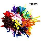 G2PLUS Pfeifenreiniger 240 Stück Chenilledraht 6 mm * 30 cm Biegeplüsch für Kinder Zum Basteln und Dekorieren (240 PCS-24 Farben)
