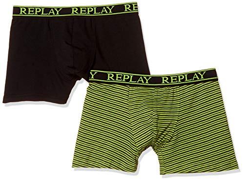 2er Set Boxershorts Herren Replay Baumwolle Unterhose eng anliegend (Lime Green/Black, M)