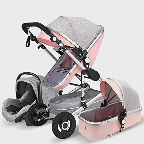 YRSTC - Passeggino portatile per bebè, 3 in 1, reclinabile, leggero, pieghevole, quattro ruote antiurto Polvere di cenere.