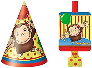 Curious George 8 Party Hats and 8 Blowouts Bundle Birthday Pack
