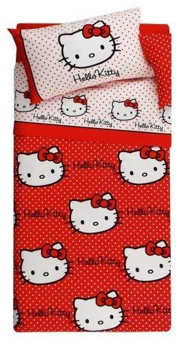 Hello Kitty - Colcha Acolchada para Cama Individual, diseño de Lunares, Color Rojo