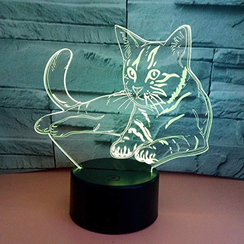 LG Snow lámparas Cat LED Colorful Gradient 3D Stereo Table Lamp Touch Remote USB Night Night Desk Mesita De Noche Decoración Creativa Decoración De Regalo