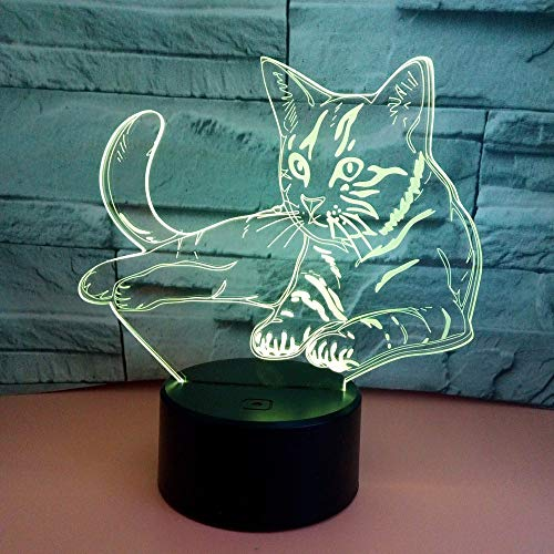 Kaper Go Cat LED Colorful Gradient 3D Stereo Table Lamp Touch Remote USB Night Night Desk Mesita De Noche Decoración Creativa Decoración De Regalo