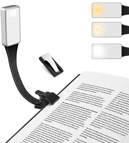 Luz de Lectura, AUSEIN Mini Lámpara de Libro Cuidado de Ojos con Luz Nocturna Recargable USB 3 Modos de Brillo con Clip, 360 °...