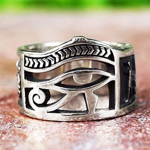 CHCO Vintage Uomo Donna Argento Colore Egiziano Occhio di Horus Ankh Croce Anelli Simbolici Egitto Amuleto Gioielli Regalo 7