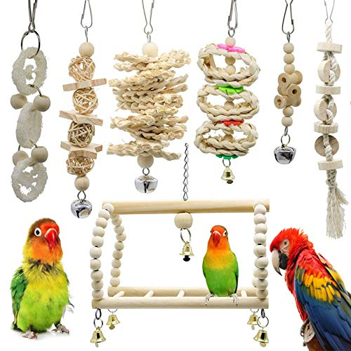 Chikanb 7-Pack Bird Toys Parrot Toy, Hanging Swing Chewing Pendant Bell Bed, Wood Hammock Bite Cage Toys, Conures Parakeets Cockatiels Macaws Finches Mynah Budgies and Lovely Birds Play Platform