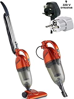 VonHaus 220 240 Volts Stick Vacuum Cleaner 600W Corded – 2 in 1 Upright & Handheld Vac with Lightweight Design, HEPA Filtration, Crevice Tool & Upholstery Brush | Bundle with Dynastar Plug Adapters