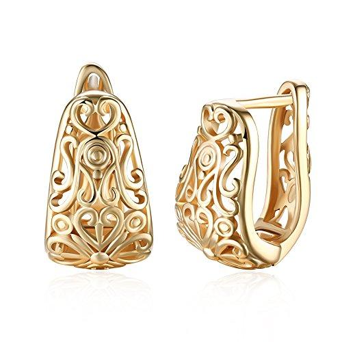 DUANMEINAD Pendientes de aro pequeños de oro de 14 K con filigrana ancha para mujer, ovalados, aros de textura hipoalergénicos