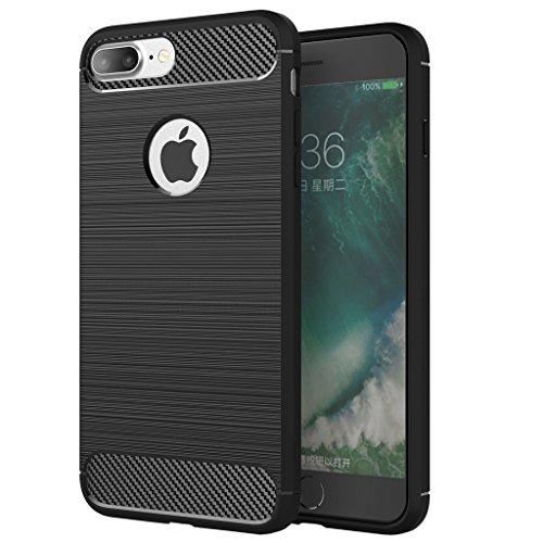 iPhone 7 Plus Custodia, WindCase Carbon Fiber Resilient Morbido Protezione Case Antiurto Armatura Resistente agli urti Custodia per iPhone 7 Plus 5.5' Nero