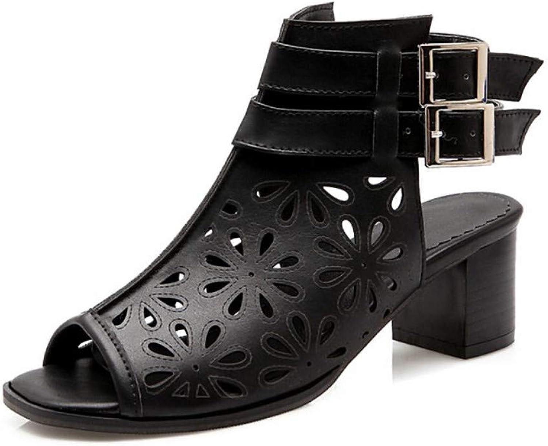 ZHZNVX Women's PU Summer Sandals Chunky Heel Open Toe Buckle White Black Brown