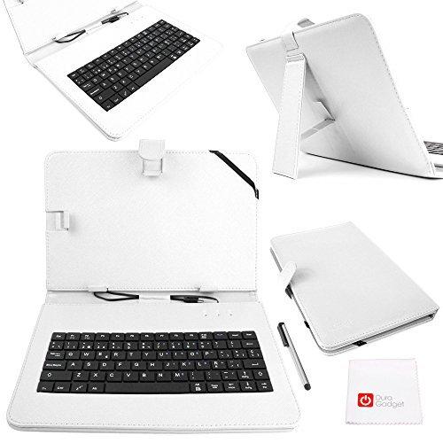 DURAGADGET Funda/Teclado ESPAÑOL Blanco con Letra Ñ para Tablets De 10 Pulgadas con Conexión MicroUSB + Puntero Stylus - Función Atril