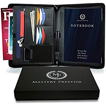 Mastery Prestige Zippered Portfolio/Padfolio Organizer - PU Leather Case with Tablet Sleeve A4 Notebook Phone & Business Cards Holders - Professional Interview Document Binder File Folder