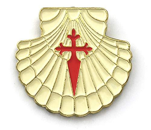broche coquille de Saint-Jacques avec croix de Saint-Jacques