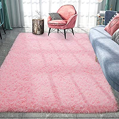 Pacapet Soft Area Rug, Furry Pink Rug for Girls Bedroom, Plush Fluffy Rug, Shag Rug Carpet for Living Room, Nursery, Home Decor, 4 x 6 Feet