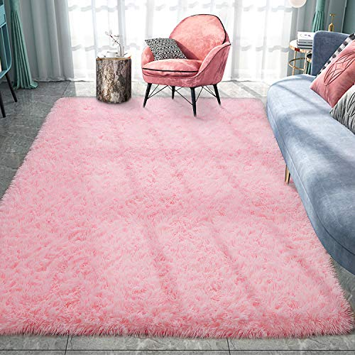 Pacapet Fluffy Area Rugs, Pink Shag Rug for Girls Bedroom, Plush Furry Rugs for Living Room, Fuzzy Carpet for Kid's Room, Nursery, Home Decor, 4 x 5.9 Feet