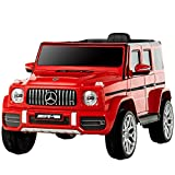 Uenjoy 12V Licensed Mercedes-Benz G63 Kids Ride On Car Electric Cars Motorized Vehicles for Girls,Boys, with Remote Control, Music, Horn, Spring Suspension, Safety Lock, LED Light,AUX, red