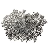 120 PCS Black and White Vintage Retro Flower Plant Stickers Decals for Laptop Scrapbooking Journal Planner Card Making