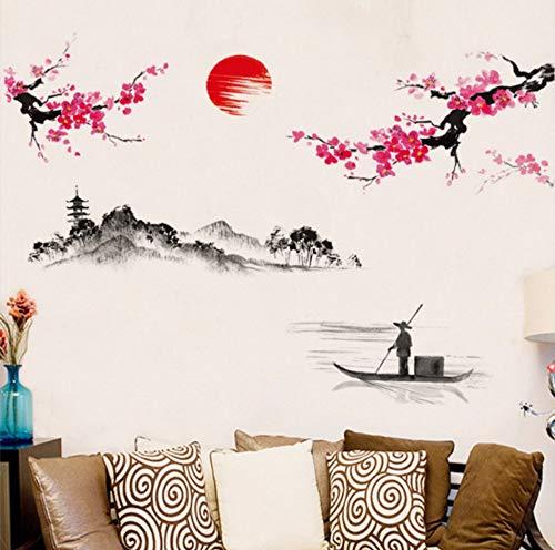 Vandelkt estilo chino Sakura japonés rosa árbol de cerezo en flor decoración etiqueta de la pared decoración
