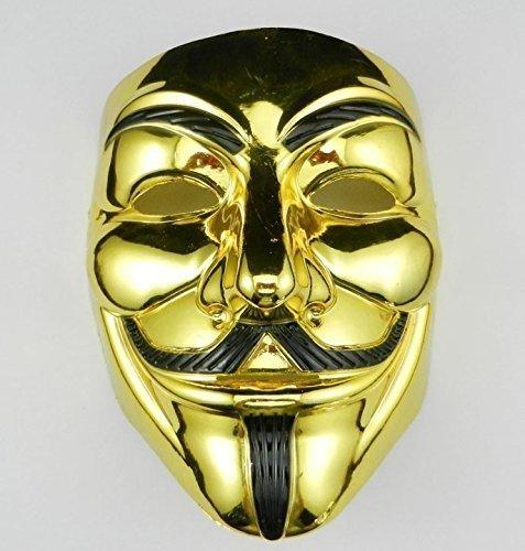 VintageⅢ VIP Gold Version Anonym Maske / V für Vendetta Maske / Guy Fawkes Maske