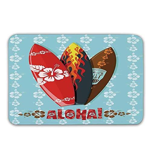 LIS HOME Brandung Front Door Mat, Illustration von modernen Aloha-Surfbrettern mit Hibiskus-Stammes- Masken-Flammen-Extremsport-Fußmatte für innere oder äußere Badematte