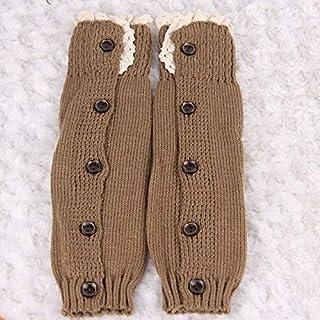 LIXUDECO, LIXUDECO Calcetines cálidos Punto bebé Calentadores de la Pierna niña de algodón de Encaje Medias con Botones de niño for niños Arrastre de Mallas (Color : Khaki)