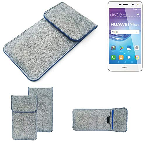 K-S-Trade Filz Schutz Hülle Für Huawei Y6 2017 Dual SIM Schutzhülle Filztasche Pouch Tasche Hülle Sleeve Handyhülle Filzhülle Hellgrau, Blauer Rand