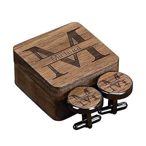 Personalisierte Manschettenknöpfe aus Holz für Männer, individuell gravierte Manschettenknöpfe für den Bräutigam, Initialen Hochzeit Manschettenknöpfe für Männer, Geschenke