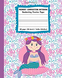 Primary Composition Notebook Handwriting Practice Paper: Sweet Purple Mermaid Cover with Dotted Midline Pages for Alphabet and Number Practice in Grades K-2nd