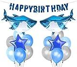 LUCK COLLECTION Hai Splash Party Dekorationen Shark Mylar Balloons Geburtstagsbanner für Shark Birthday Party Supplies