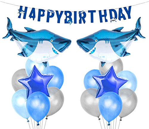 LUCK COLLECTION Hai Splash Party Dekorationen Shark Mylar Balloons Geburtstagsbanner für Shark Birthday Party Supplies