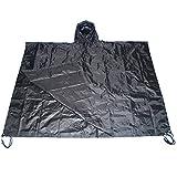 Military USMC Style Poncho Rain Coat Water Resistant Black