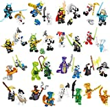 32 Pcs Pack Ninja Figures Set, Ninjas Fighting with Weapons Building Blocks Action Figures Toy, Boys Kids 1130