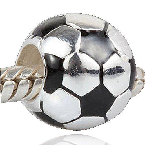 Fußball Fußball Charm Anhänger echt 925Sterling Silber Emaille Bead mit Schwarz Weiß für im europäischen Stil Armband