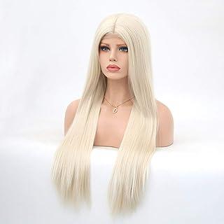 Koloeplf レディースシルクロングストレートブラックウィッグ耐熱合成かつら前髪付きウィッグ女性用ウィッグ