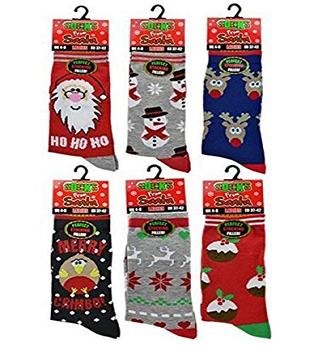 3x Pairs of Ladies Novelty Fun Christmas Socks / UK 4-8...