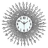 HongLianRiven Reloj de Pared Relojes de Pared Digitales de Metal Reloj Redondo Sala de Estar Reloj de Pared No Hay garrapata y Reloj de Cuarzo Mute Hierro Reloj DE Pared Decoraciones para el hogar