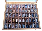Rocksmins Collection of 50 Minerals MI50WB in Wooden Box Set of 50 Handpicked Big Mineral Specimen for Students School College Education Rocks Geology Kits ideal Study Earth Science & Stones