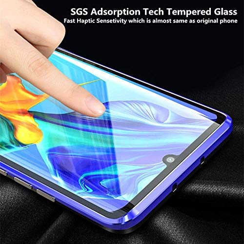 Yichxu Huawei P30 Pro Hülle Magnet, Magnetische Adsorption Handyhülle für Huawei P30 Pro, Einteiliges 360 Grad Gehärtetes Glas Schutzhülle Panzerglasfolie Durchsichtige Case Cover, Blau - 4