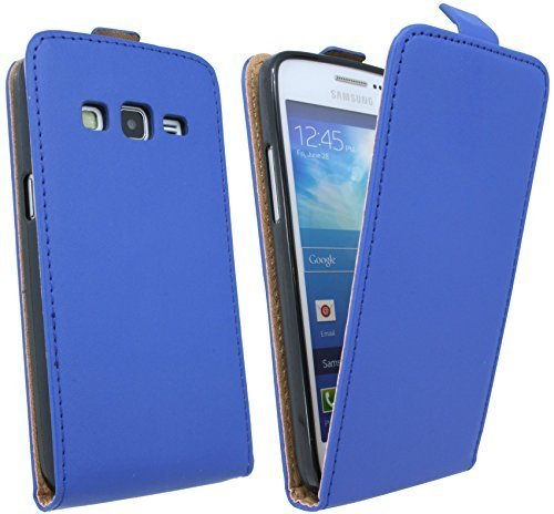 ENERGMiX Handytasche Flip Style kompatibel mit Samsung Galaxy Express 2 G3815 in Blau Klapptasche Hülle