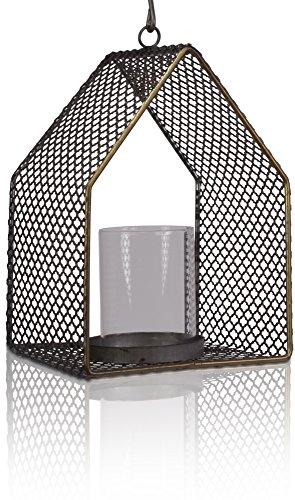Chiccie metalen windlicht met glazen inzetstuk 19 cm - theelichthouder kaarsenhouder lantaarn