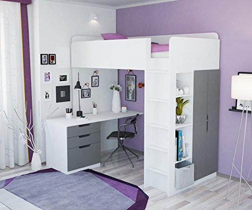 Litera, cama alta Polini para niños, combinación 5en 1en diferentes colores