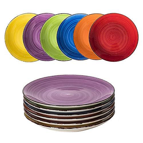 esto24 Design 6er Set Kuchenteller Dessertteller ESS Teller Keramik 19cm tollen Farben ( Bunt)