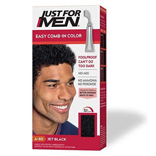 Just For Men Easy Comb-In Color (Formerly Autostop), Gray Hair Coloring for Men with Comb Applicator - Jet Black, A-60 (Packaging May Vary)
