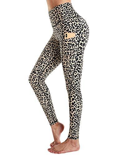 STYLEWORD Women's Leopard Pattern Print Yoga Pants High Waist Full-Length Leggings with...